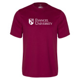 Performance Maroon Tee-Evangel University Stacked