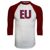 White/Maroon Raglan Baseball T Shirt-EU