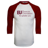 White/Maroon Raglan Baseball T Shirt-the greater yoU.