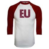 White/Maroon Raglan Baseball T Shirt-EU Distressed