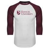 White/Maroon Raglan Baseball T Shirt-Evangel University Stacked