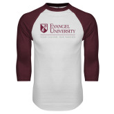White/Maroon Raglan Baseball T Shirt-Evangel University - Tagline