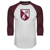 White/Maroon Raglan Baseball T Shirt-Shield