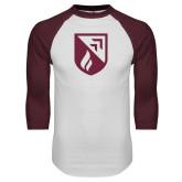 White/Maroon Raglan Baseball T Shirt-Shield