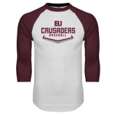 White/Maroon Raglan Baseball T Shirt-Baseball Plate