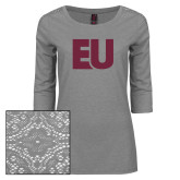 Ladies Grey Heather Lace 3/4 Sleeve Tee-EU
