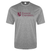 Performance Grey Heather Contender Tee-Evangel University Stacked