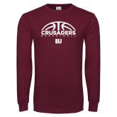 Maroon Long Sleeve T Shirt-Basketball Half Ball