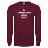 Maroon Long Sleeve T Shirt-Basketball Sharp Net