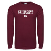 Maroon Long Sleeve T Shirt-Volleyball Stacked