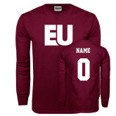 Maroon Long Sleeve T Shirt-EU, Custom Tee w/ Name and #