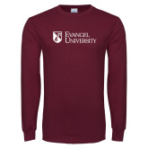 Maroon Long Sleeve T Shirt-Evangel University Stacked