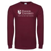 Maroon Long Sleeve T Shirt-Evangel University - Tagline