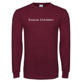 Maroon Long Sleeve T Shirt-Flat Wordmark