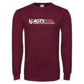 Maroon Long Sleeve T Shirt-AGTS Non Formal