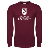 Maroon Long Sleeve T Shirt-Evangel university Shield Stacked