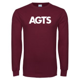 Maroon Long Sleeve T Shirt-AGTS Letters