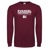 Maroon Long Sleeve T Shirt-Evangel University - Crusaders Stacked