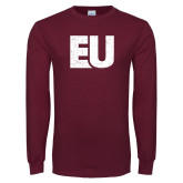 Maroon Long Sleeve T Shirt-EU Distressed