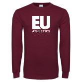 Maroon Long Sleeve T Shirt-Athletics