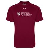 Under Armour Maroon Tech Tee-Evangel University Stacked