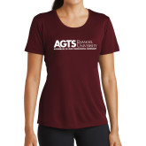 Ladies Performance Maroon Tee-AGTS Non Formal No Shield