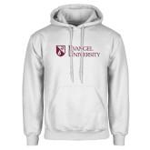 White Fleece Hoodie-Evangel University Stacked