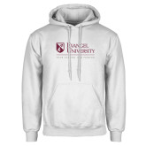 White Fleece Hoodie-Evangel University - Tagline