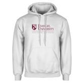 White Fleece Hoodie-Evangel University - Tagline