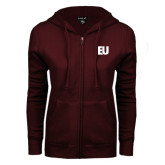 ENZA Ladies Maroon Fleece Full Zip Hoodie-EU