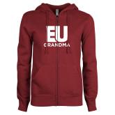 ENZA Ladies Maroon Fleece Full Zip Hoodie-Grandma