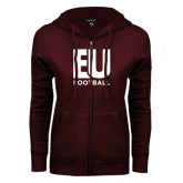 ENZA Ladies Maroon Fleece Full Zip Hoodie-Football