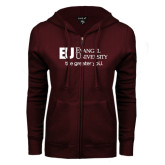 ENZA Ladies Maroon Fleece Full Zip Hoodie-the greater yoU.