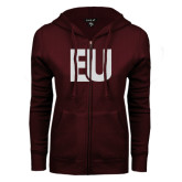 ENZA Ladies Maroon Fleece Full Zip Hoodie-EU Glitter