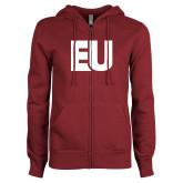 ENZA Ladies Maroon Fleece Full Zip Hoodie-EU