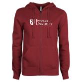 ENZA Ladies Maroon Fleece Full Zip Hoodie-Evangel University Stacked