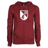 ENZA Ladies Maroon Fleece Full Zip Hoodie-Shield