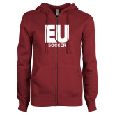 ENZA Ladies Maroon Fleece Full Zip Hoodie-Soccer