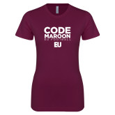 Next Level Ladies SoftStyle Junior Fitted Maroon Tee-Code Maroon