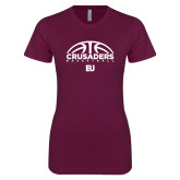Next Level Ladies SoftStyle Junior Fitted Maroon Tee-Basketball Half Ball