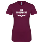 Next Level Ladies SoftStyle Junior Fitted Maroon Tee-Baseball Plate