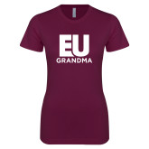 Next Level Ladies SoftStyle Junior Fitted Maroon Tee-Grandma