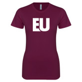 Next Level Ladies SoftStyle Junior Fitted Maroon Tee-EU