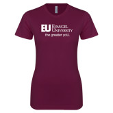 Next Level Ladies SoftStyle Junior Fitted Maroon Tee-the greater yoU.