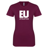 Next Level Ladies SoftStyle Junior Fitted Maroon Tee-Athletics