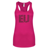 Next Level Ladies Raspberry Ideal Racerback Tank-EU Hot Pink Glitter
