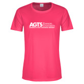Ladies Performance Hot Pink Tee-AGTS Non Formal No Shield