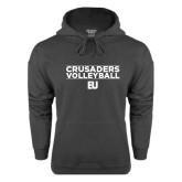 Charcoal Fleece Hoodie-Volleyball Stacked Design