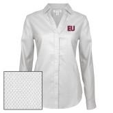 Ladies Red House Diamond Dobby White Long Sleeve Shirt-EU