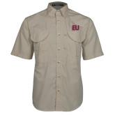 Khaki Short Sleeve Performance Fishing Shirt-EU